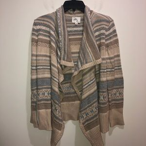 Milly Sz M Beige Striped Cardigan Sweater